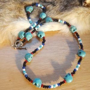 Turquoise skull necklace or wrap bracelet